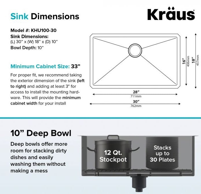 Kraus-KHU100-30-Kitchen-Sink-Sink-Dimensions